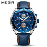 MEGIR Sports Chronograph Leather Band Quartz Men's Wristwatch