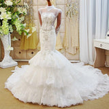 Mermaid wedding dresses tulle long sleeve backless beauty