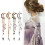 Moon Crystal Rhinestone Dangle Hairpin
