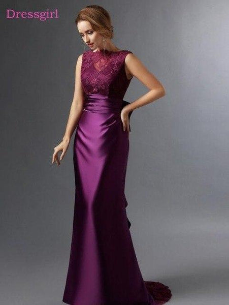 Mother Of The Bride Dresses Mermaid Satin Lace Bow Evening