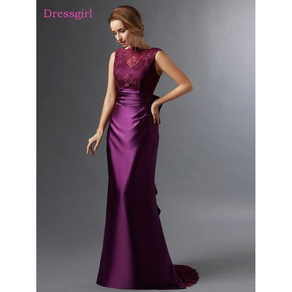 2016 Lace Mermaid Mother Of The Bride Dresses Groom: Mother Of The Bride Dresses Mermaid Satin Lace Bow Evening