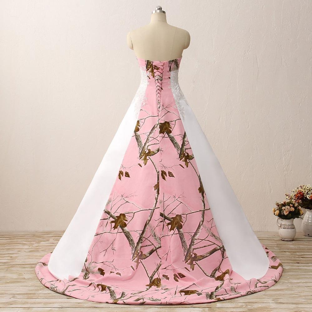 Camouflage Wedding Gowns: Pink Camo Wedding Dresses Sleeveless Sweetheart Lace Up