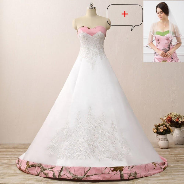 Camouflage Wedding Dresses.Pink Camo Wedding Dresses Sleeveless Sweetheart Lace Up Camouflage