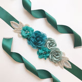 Satin Flower Wedding Sash
