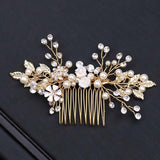 Gold Pearl Rhinestone Hair Combs