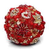 Red Wedding Brooch Bouquets Gold Jewelry