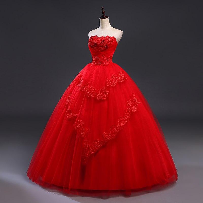 Red Wedding Dress Lace Up Strapless Ball Gown/ Princess Style Comes in Plus  Size too