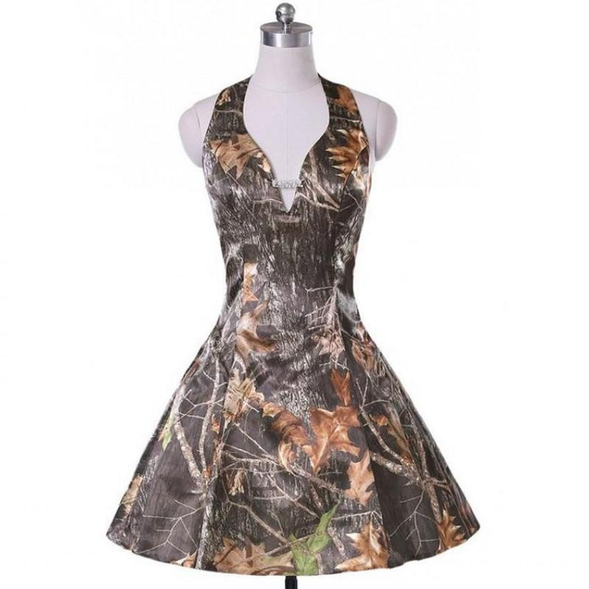 Camouflage Wedding Dresses.Short A Line Camo Wedding Dresses Sleeveless Halter Zipper Camouflage