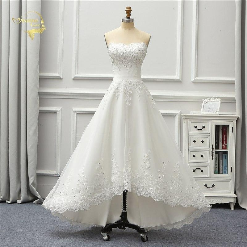 Short Front Long Back Wedding Dress Ivory