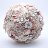 Silk Wedding Flowers Rhinestone Jewelry Blush Pink Brooch Bouquet