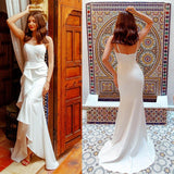 Simple Backless Lace Long Wedding Dress