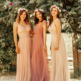 Sweetheart A-line V-neck Sleeveless Bridesmaid Dress