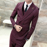 Wine Red Men Blazer Slim Fit Casual Suit Jacket