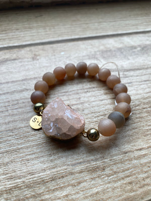 Large Statement Bracelet With Druzy Stone