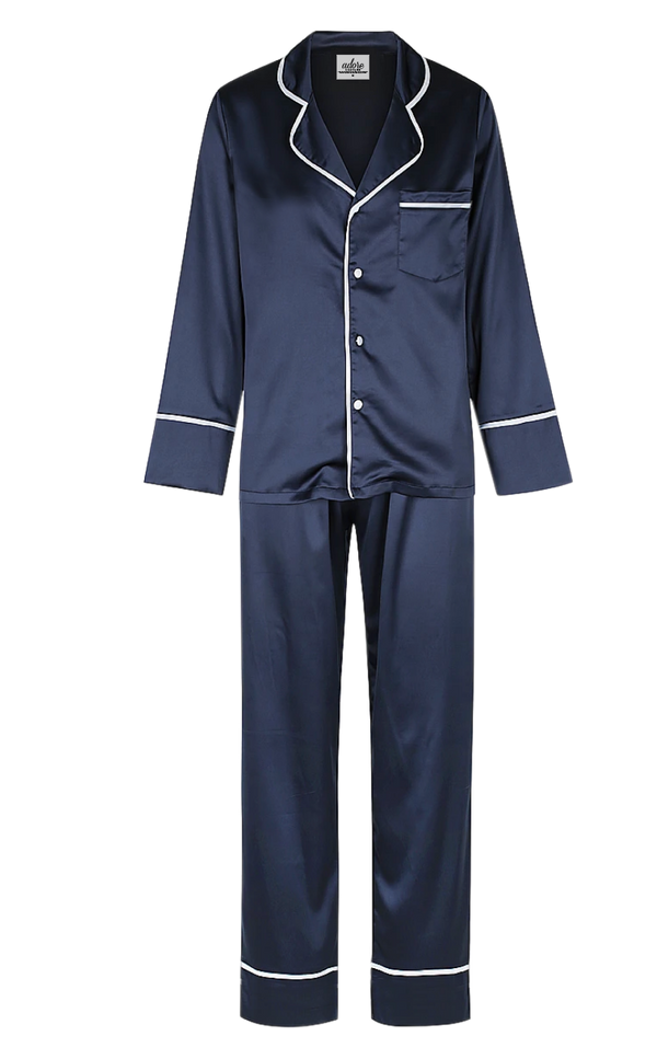 Men's Long Navy Silk PJ Set