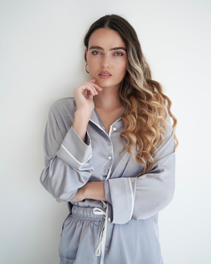 Long Grey Silk PJ Set