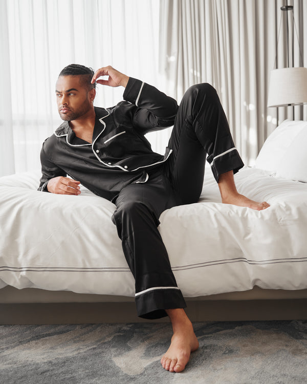 Men's Long Black Silk PJ Set