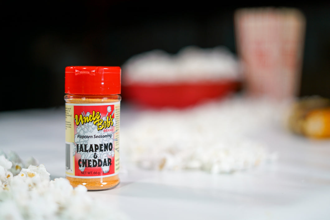 66 grams of Jalapeno & Cheddar Popcorn Seasoning. Processed and packaged in Canada.