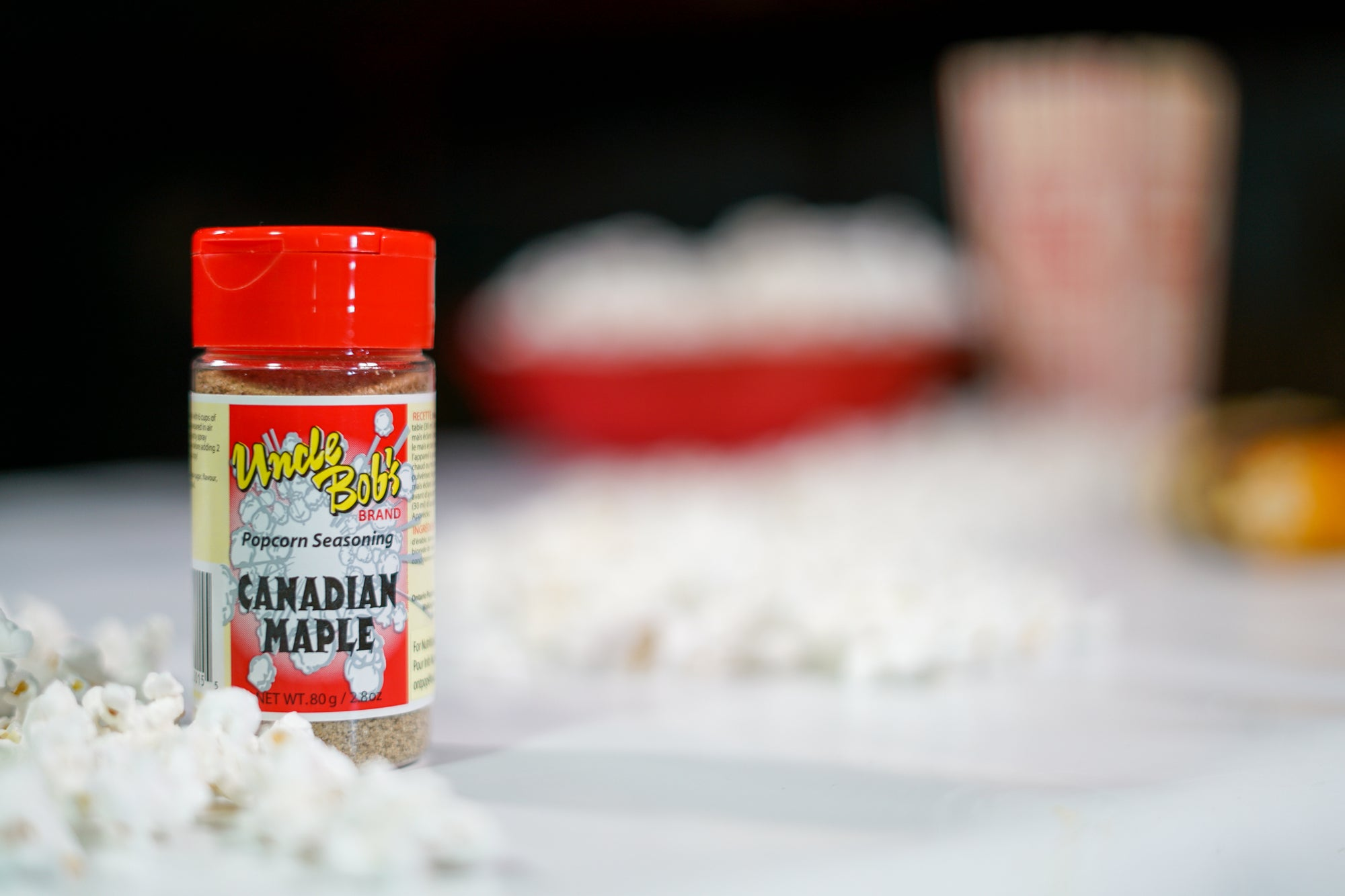 80 grams of Canadian Maple Popcorn Seasoning. Processed and packaged in Canada.