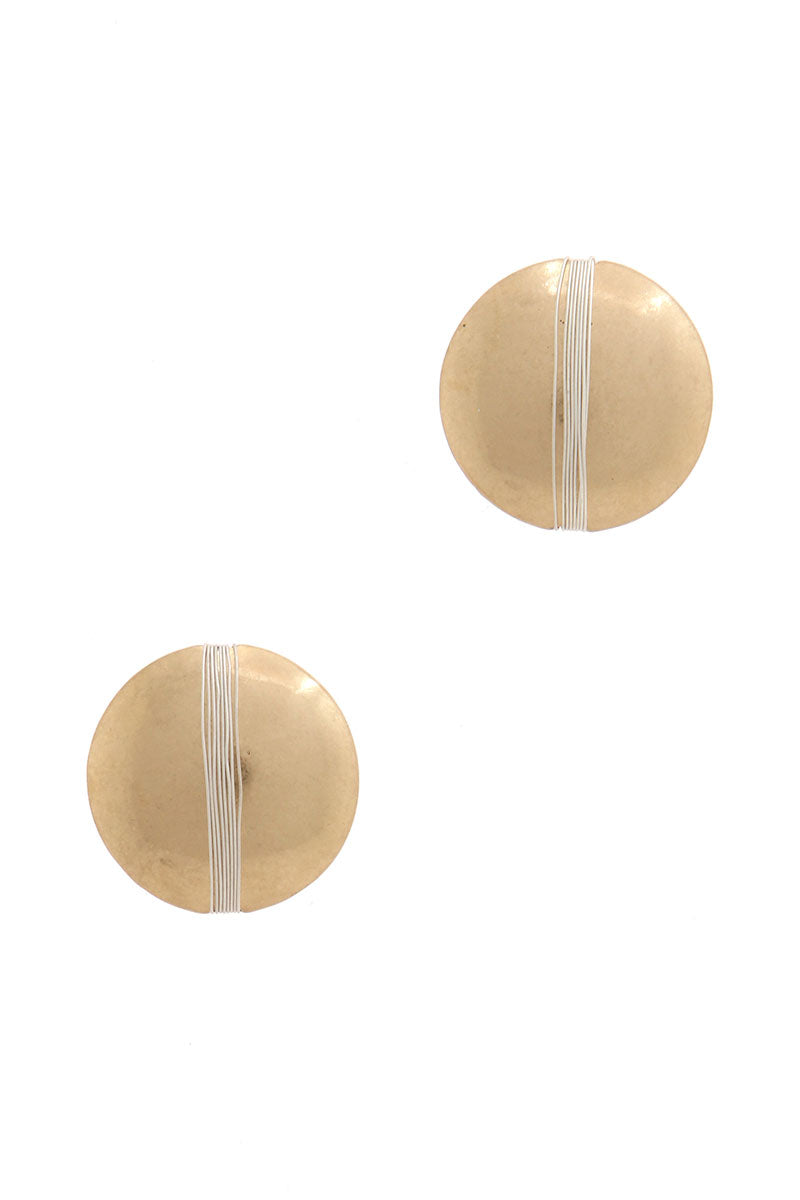 Gold Patina Circle Earrings with Contrasting Silver Wire Banding