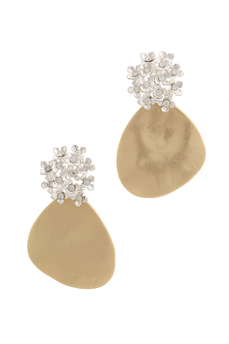 Gold Patina Tear Drop Earrings with Contrasting Silver Floral Design