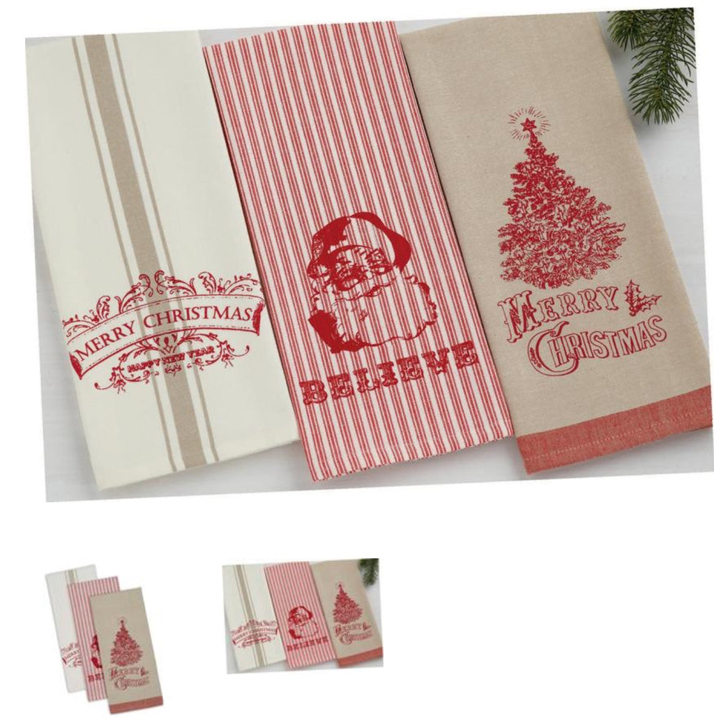 Vintage Linen & Ivory Merry Christmas Hand Towel