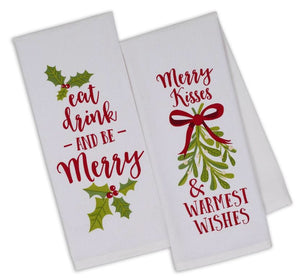 Eat, Drink, & Be Merry Christmas Hand Towel