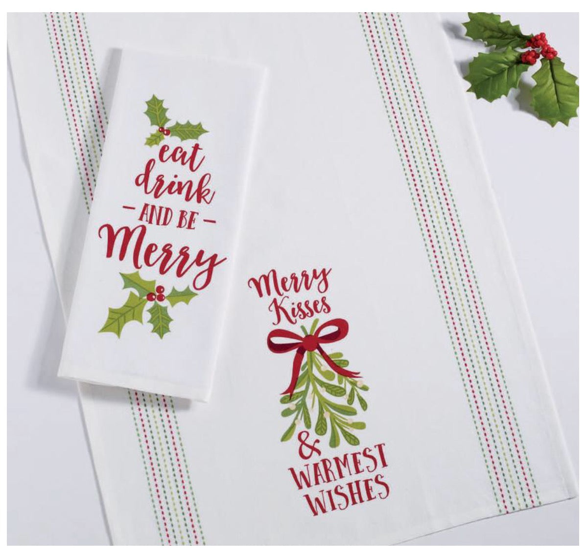 Merry Kisses & Warmest Wishes Christmas Hand Towel