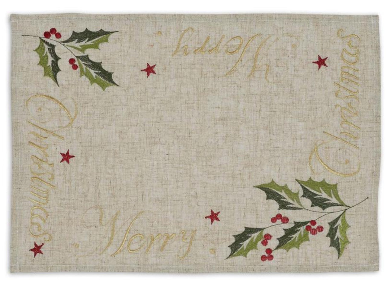 Merry Christmas Embroidered Placemat- Set of 4