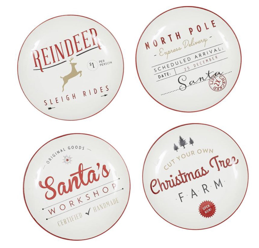 Christmas Appetizer Plates- Set of 4