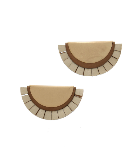 Gold & Leather Post Drop Earrings
