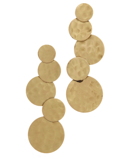 Hammered Gold Circle Post Drop Earring - Linked