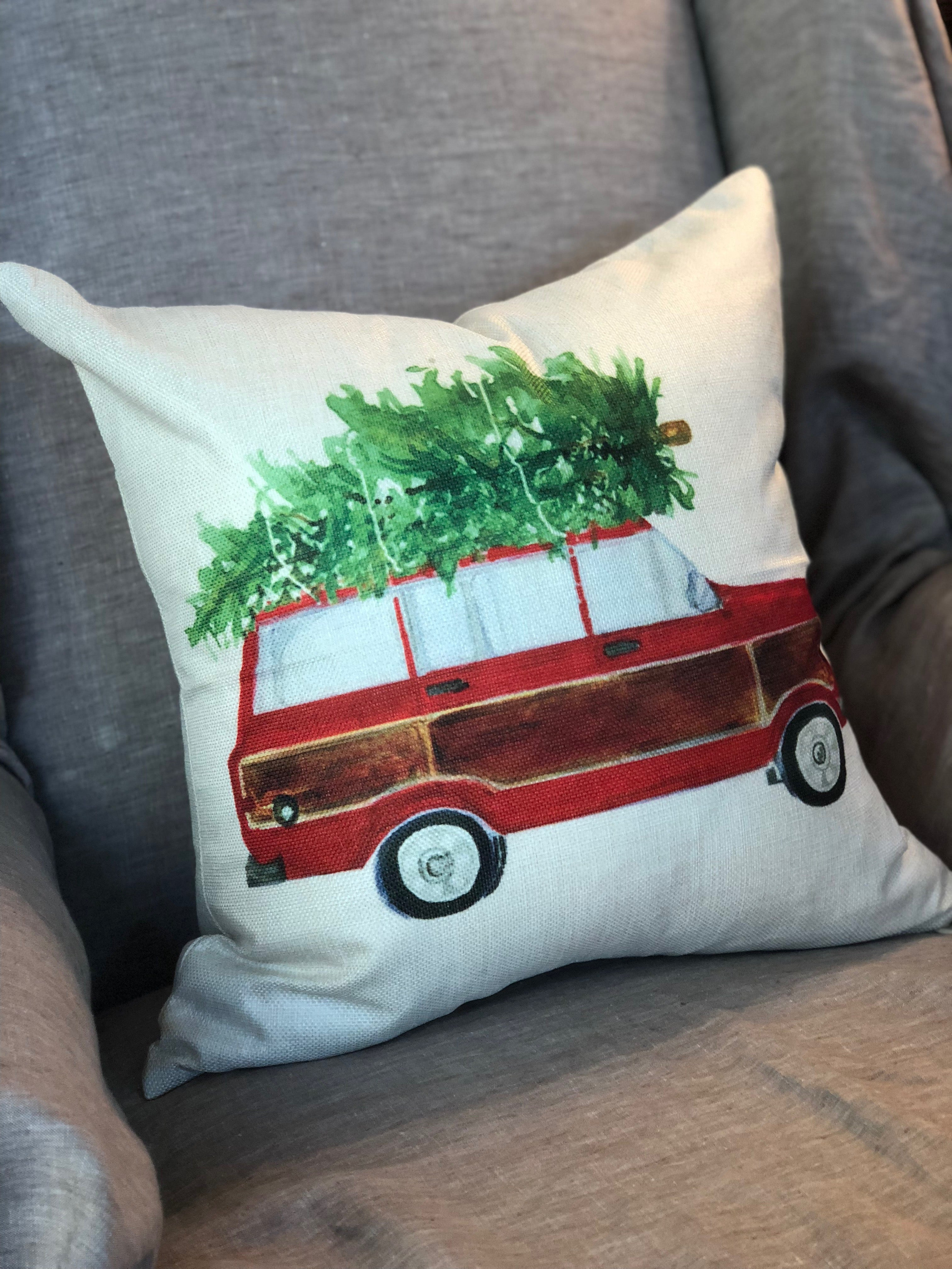Vintage-Style Station Wagon Christmas Pillow Cover