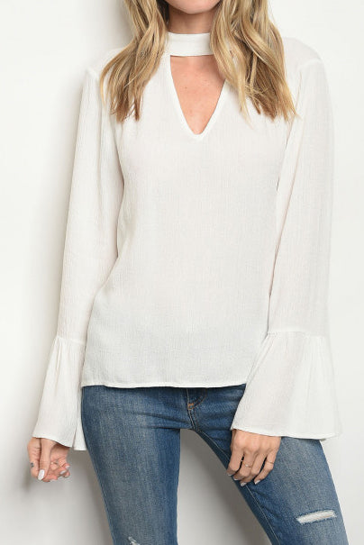 Ivory Bell Sleeve Neck Tie Top