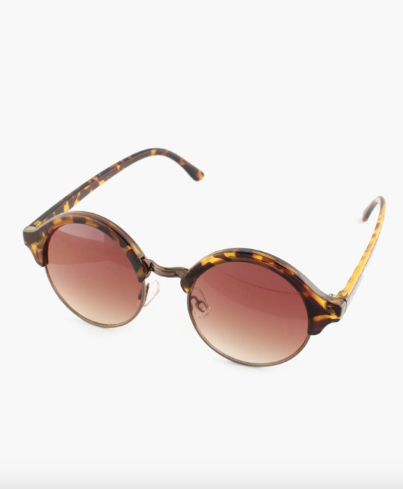 Round Lens Sunglasses - Brown