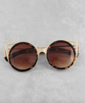 Rounded Cat Eye Sunglasses - Brown