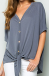 Grey Button Down Tie Top