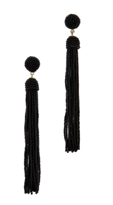 Black Seed Bead Tassel Earrings