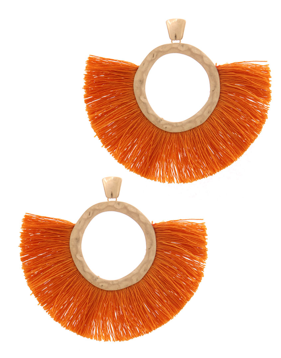Auburn Fanned Tassel Earrings