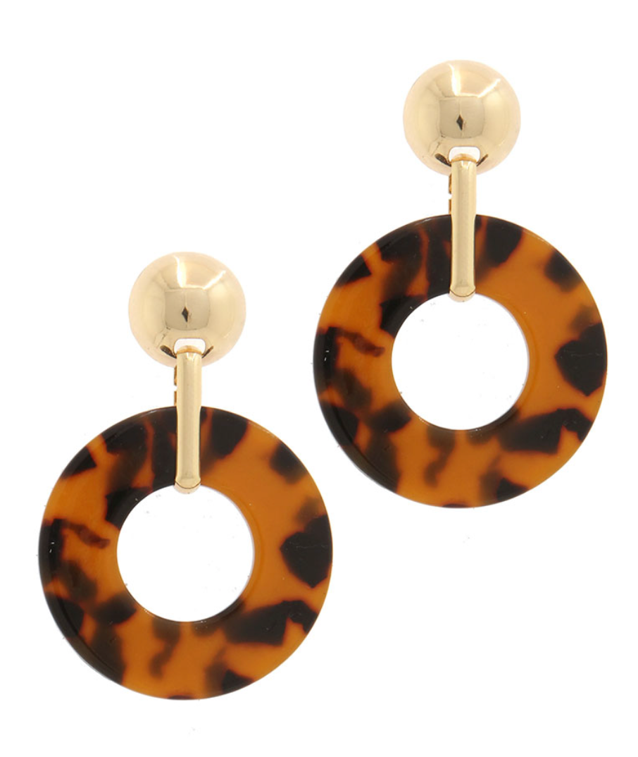 Round Tortoise Earrings