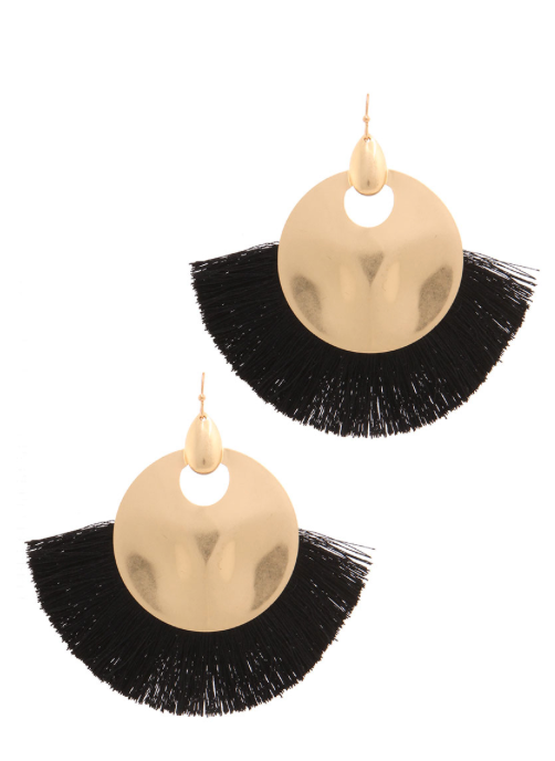 Black & Gold Tassel Earrings