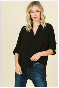 Black Button-Up Sleeve Blouse