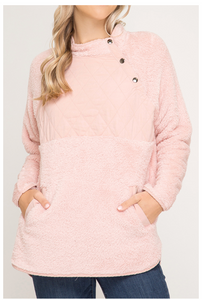Blush Fuzzy Pullover with Quilted Chest Detail
