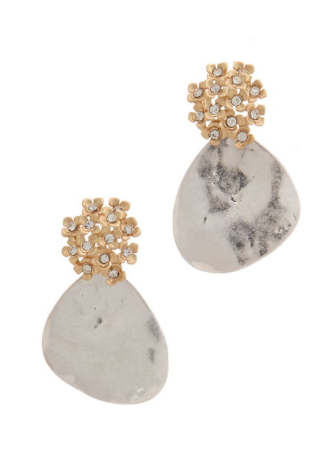 Silver Patina Tear Drop Earrings with Contrasting Gold Floral Design