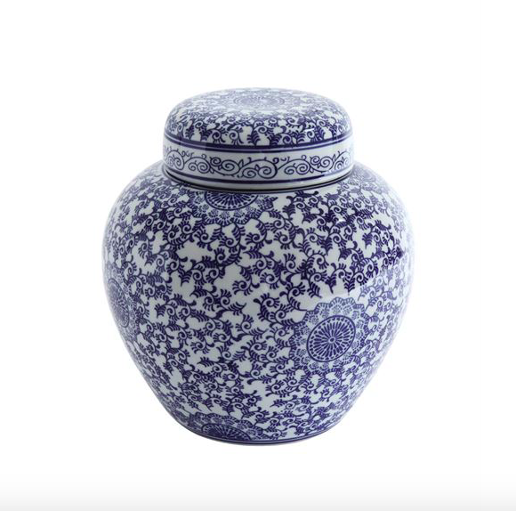 Blue & White Stoneware Ginger Jar
