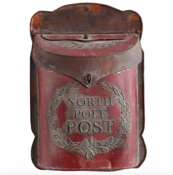 """North Pole Post"" Distressed Red Mailbox"