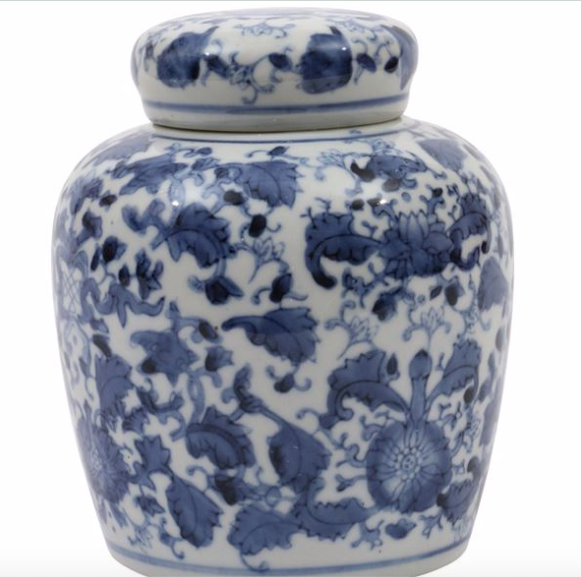 Ginger Jar with Lid, Blue & White, Ceramic