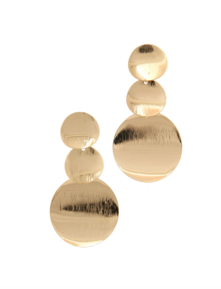 Three Tiered Gold Circle Earrings