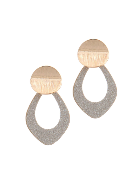 Gold & Glizty Tear Drop Earrings