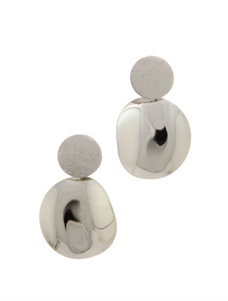 Silver Dual Organic Circle Earrings